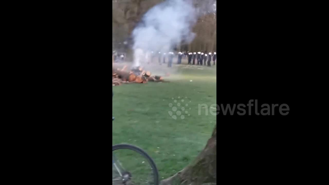 Belgian police use water cannons to disperse riot crowds at Brussels park