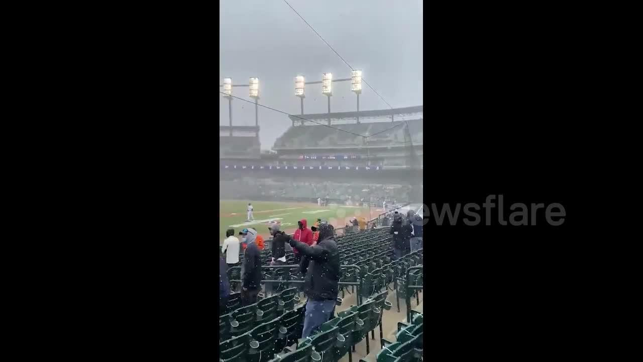 Detroit Tigers met with field full of snow in Opening Day win