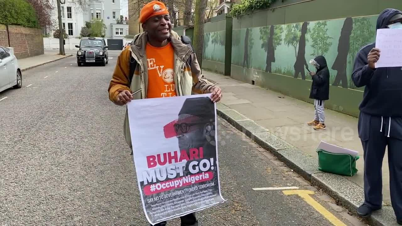 'Buhari Go Home' protest outside Nigerian High Commission in London
