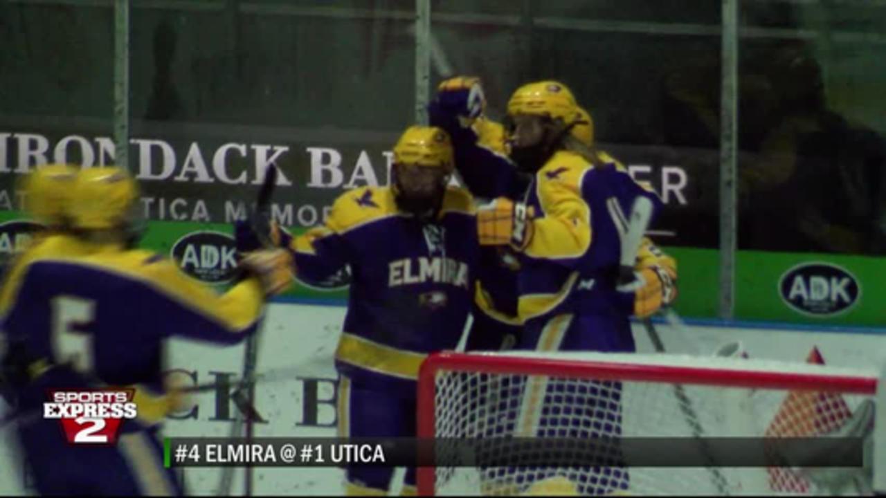 4-2-21 SPORTS EXPRESS: Elmira outlasts Utica in 3 OT UCHC Tournament semifinal; Colgate's Jordan Bur