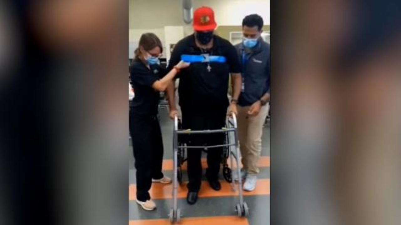 Moving video shows Covid survivor walk for first time in a year