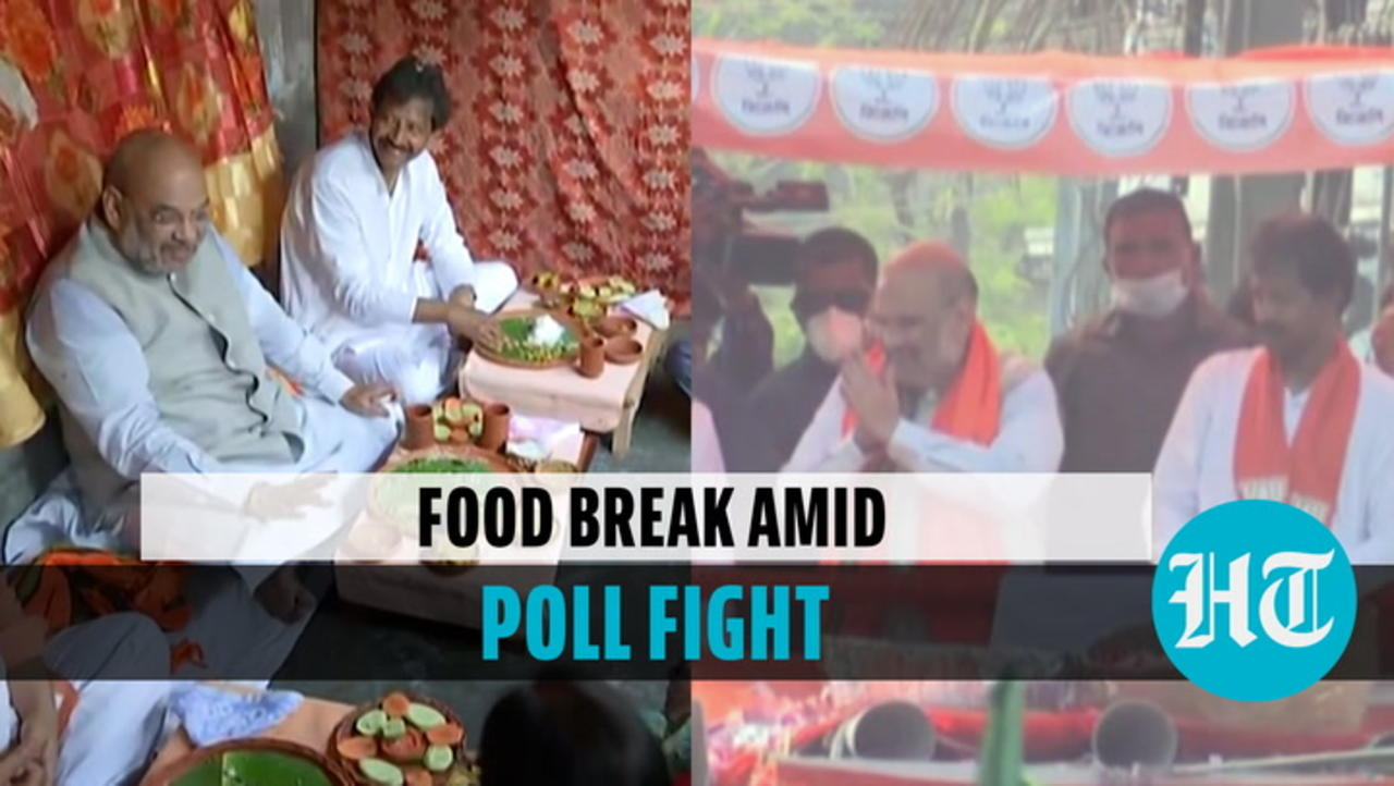 Watch: Amit Shah eats at rickshaw puller's house; TMC defector's 'bhatija' jibe