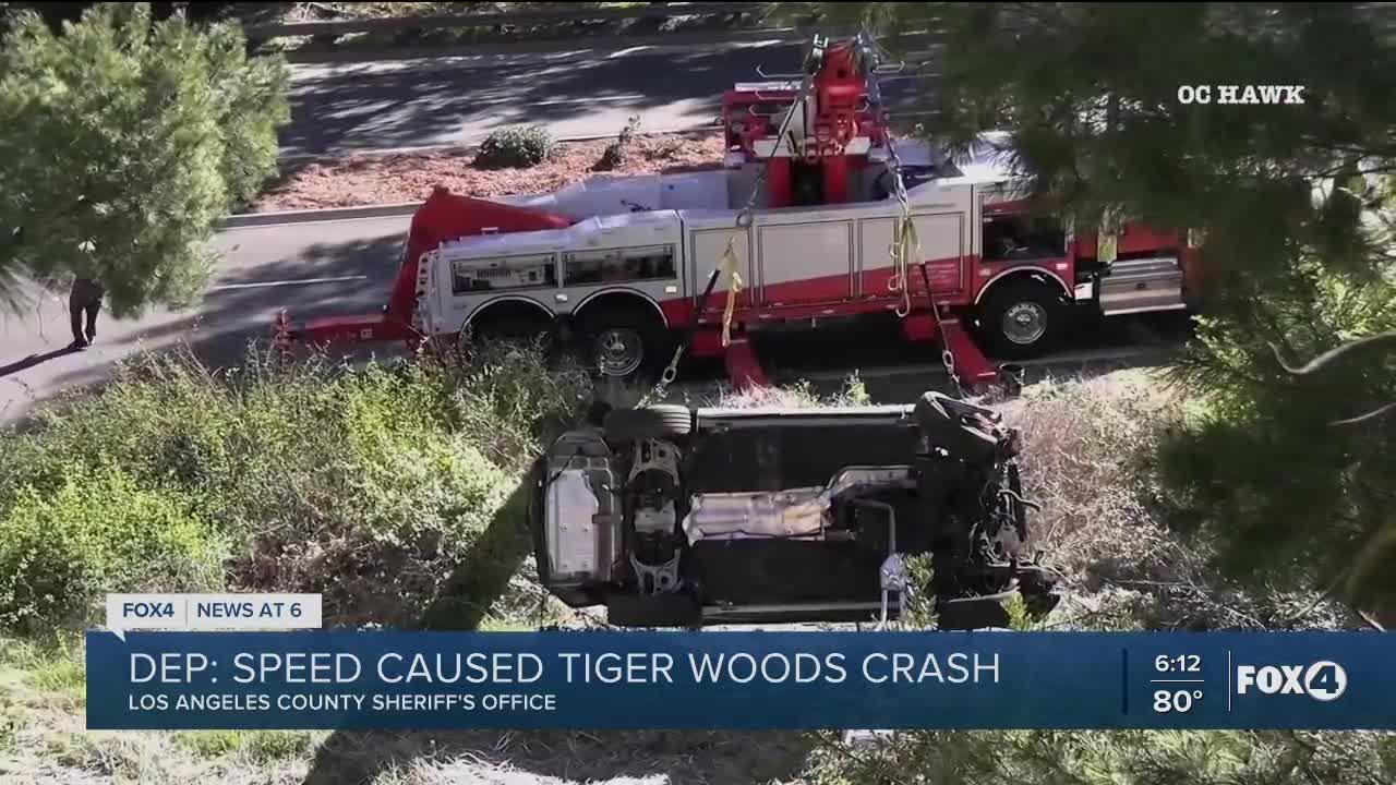 Sheriff: Tiger Woods was driving 84 to 87 mph in a 45 mph zone during time of crash