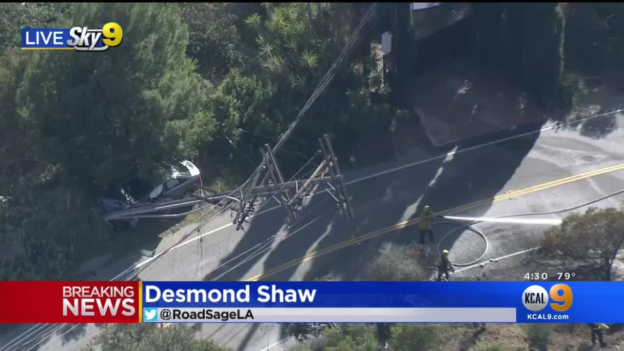 Car Crashes Into Power Pole, Sparking Small Brush Fire On Mulholland Drive