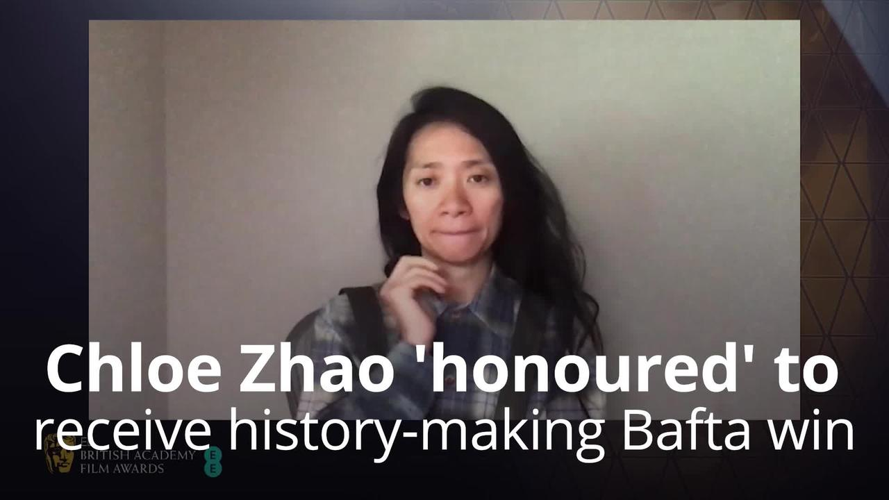 Chloe Zhao 'honoured' to receive her history-making Bafta win