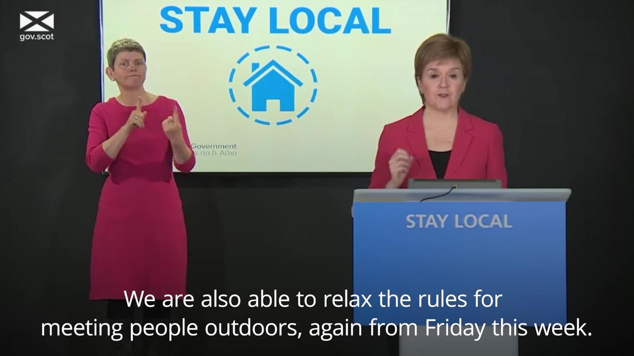 Restrictions on travel and outdoor meetings to be eased in Scotland from Friday