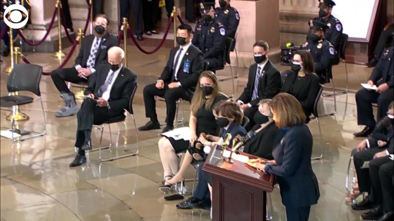 WEB EXTRA: President Biden Picks Up Toy That Fallen Officer's Daughter Dropped