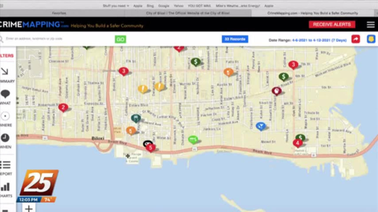 Biloxi Police Department providing crime mapping of the whole city