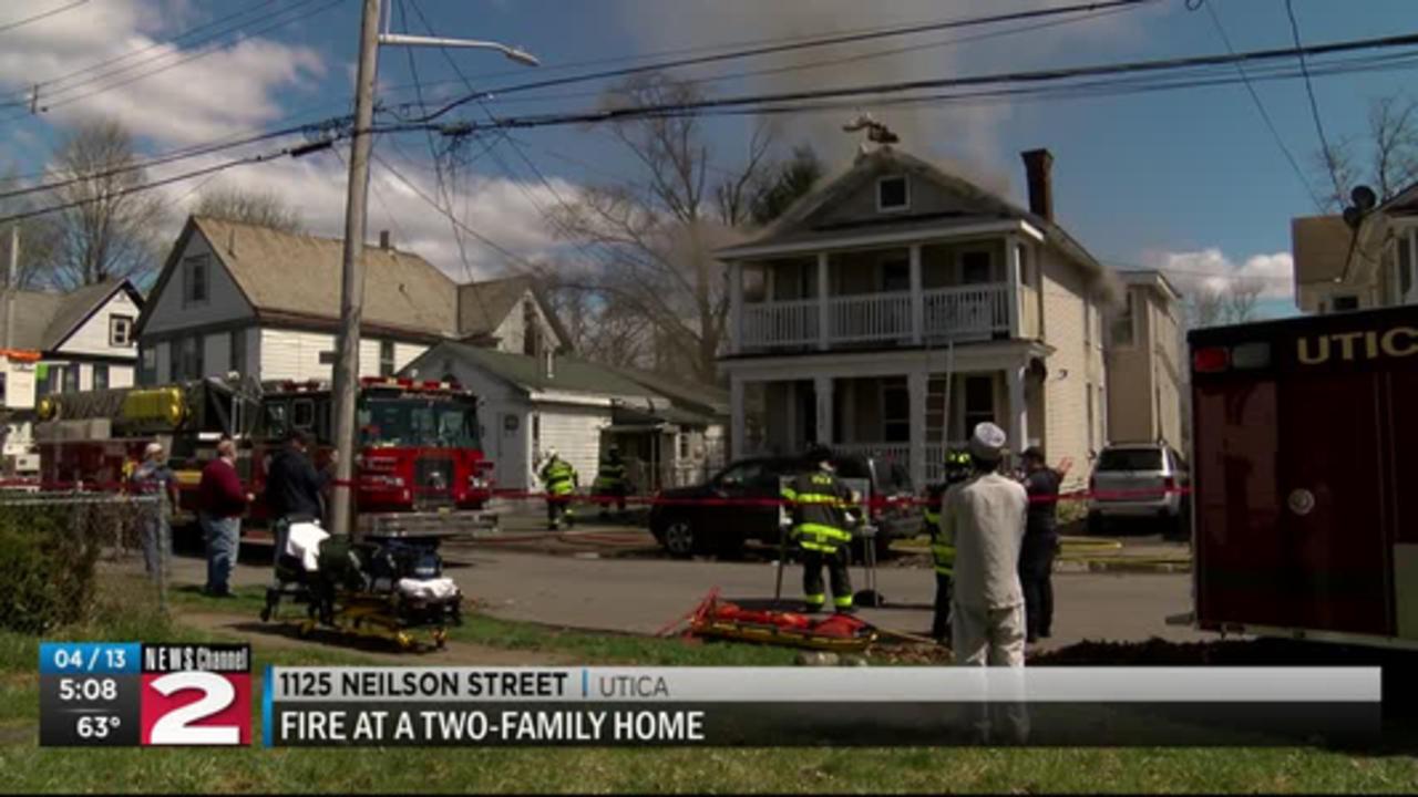 Fire displaces 12 in Utica
