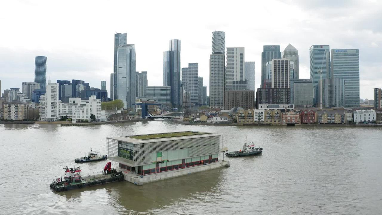 Floating pavilions dock in London's Canary Wharf