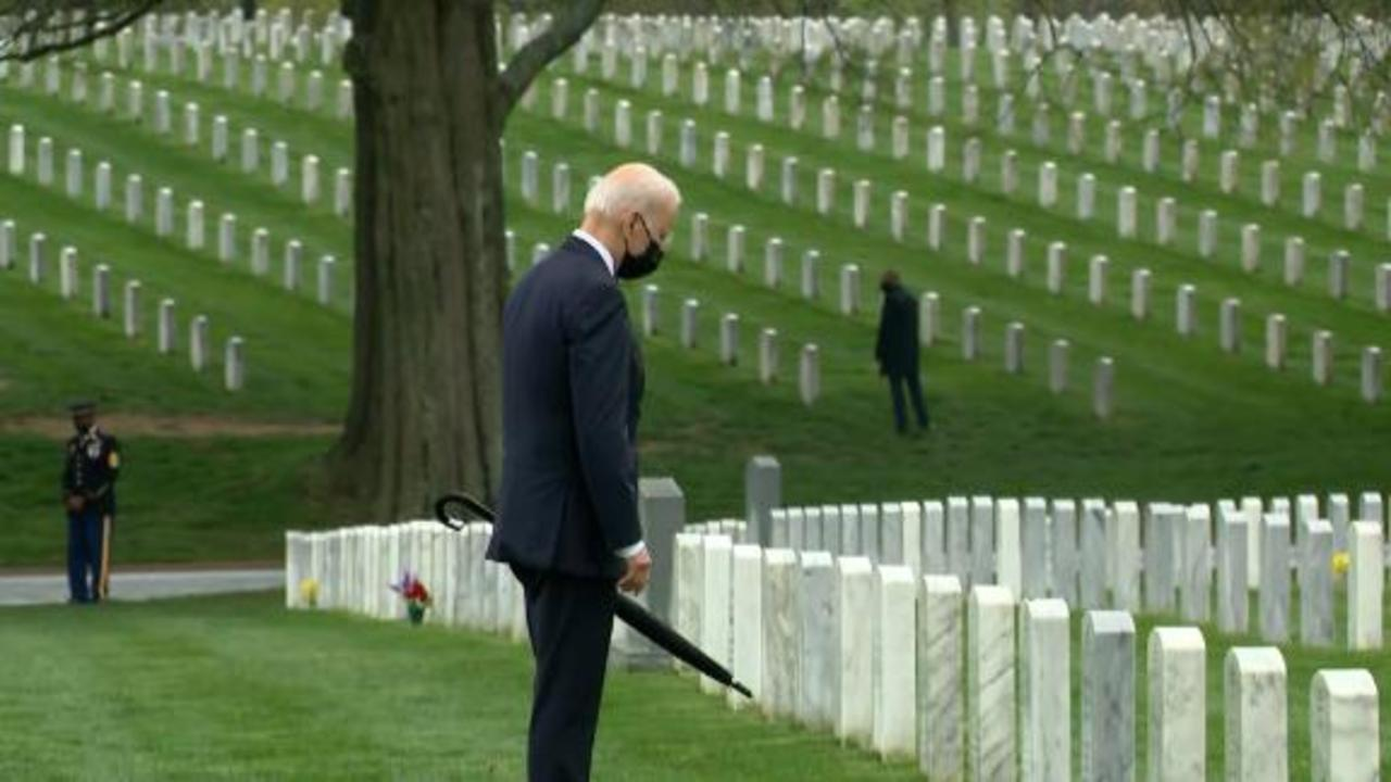 Biden says it was 'clear' decision to withdraw as he visits graves of soldiers