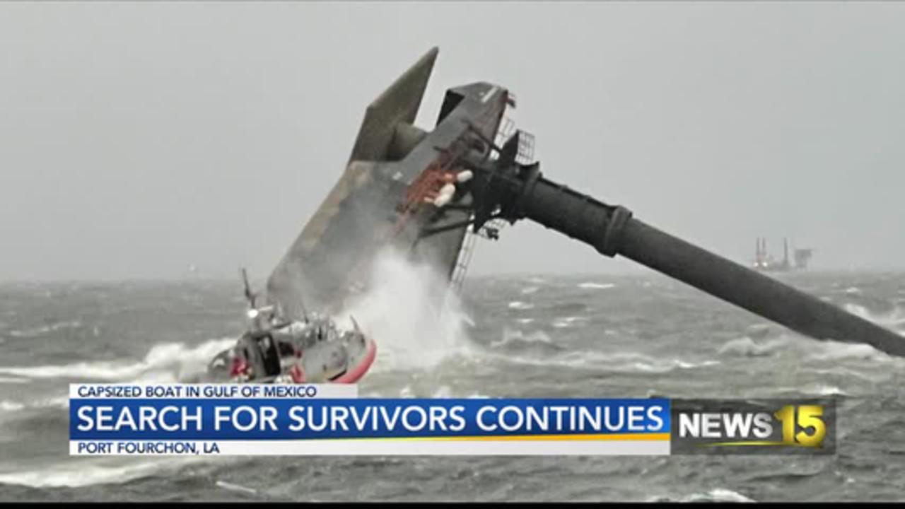 Capsized boat in gulf