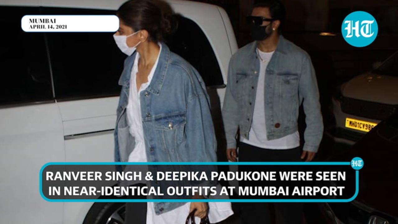 Watch: Ranveer Singh, Deepika Padukone twin at airport as they jet out of Mumbai