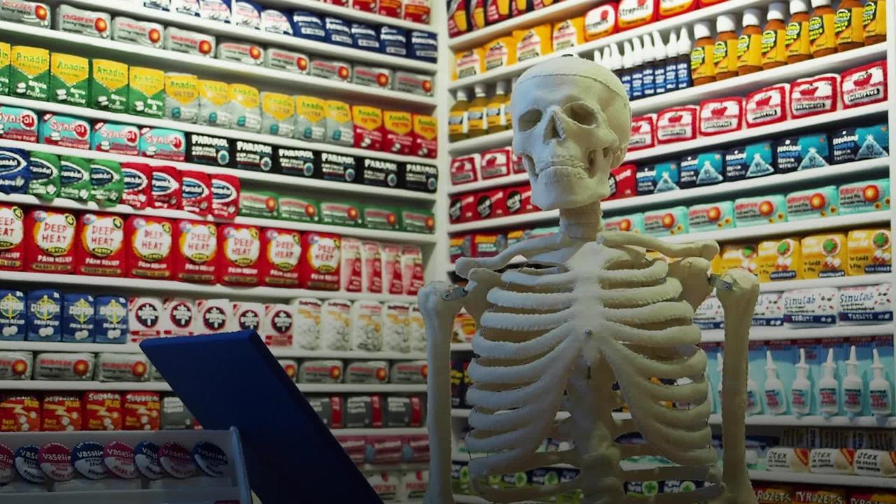 Artist recreates village pharmacy in felt
