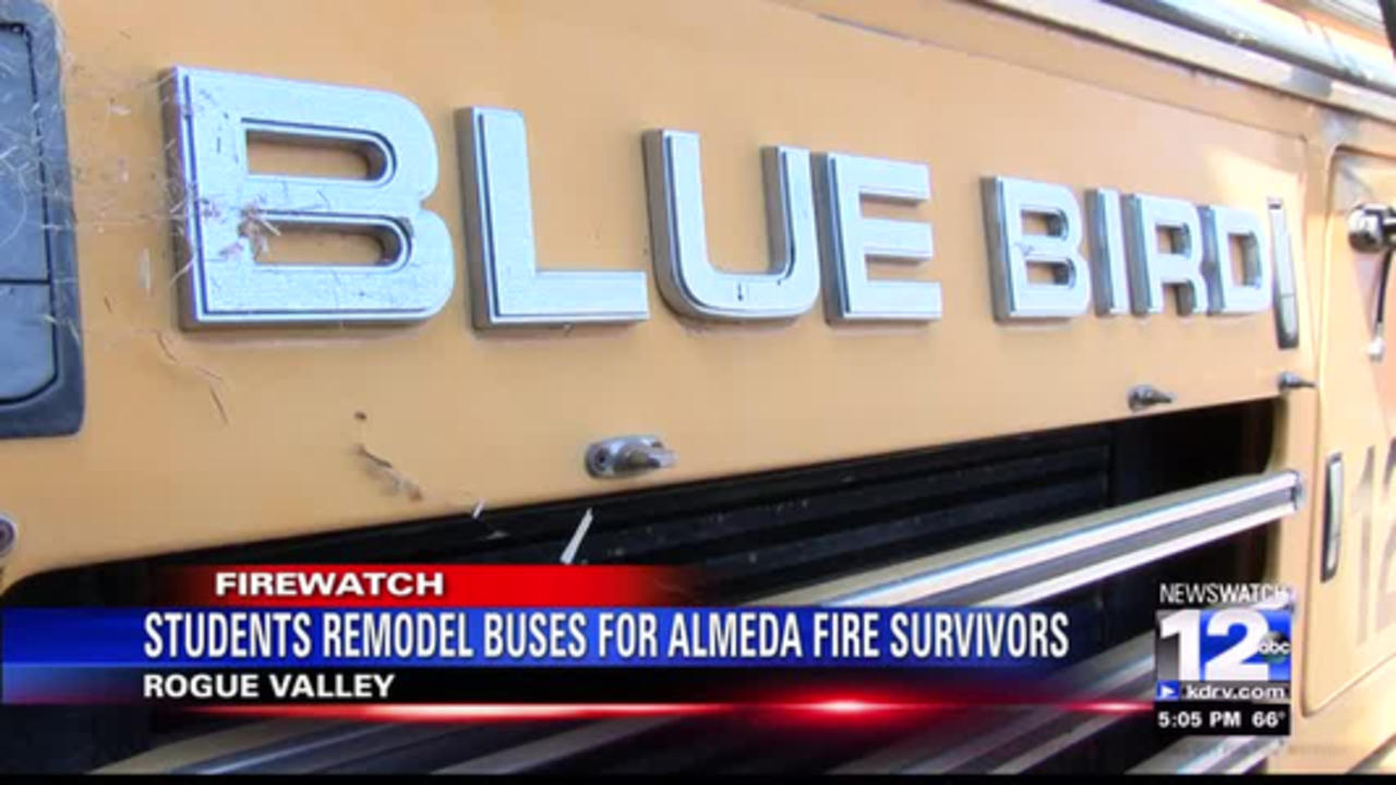 Students remodel school buses for Almeda Fire victims