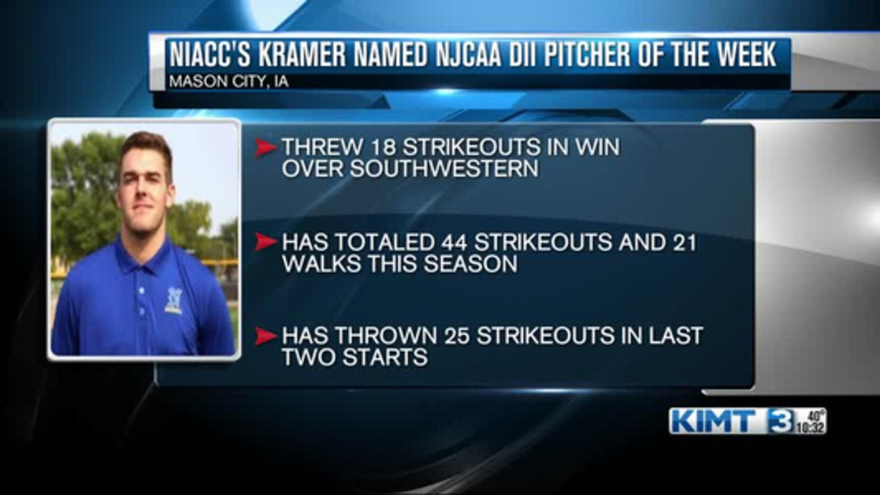 NIACC's Kramer named Pitcher of the Week