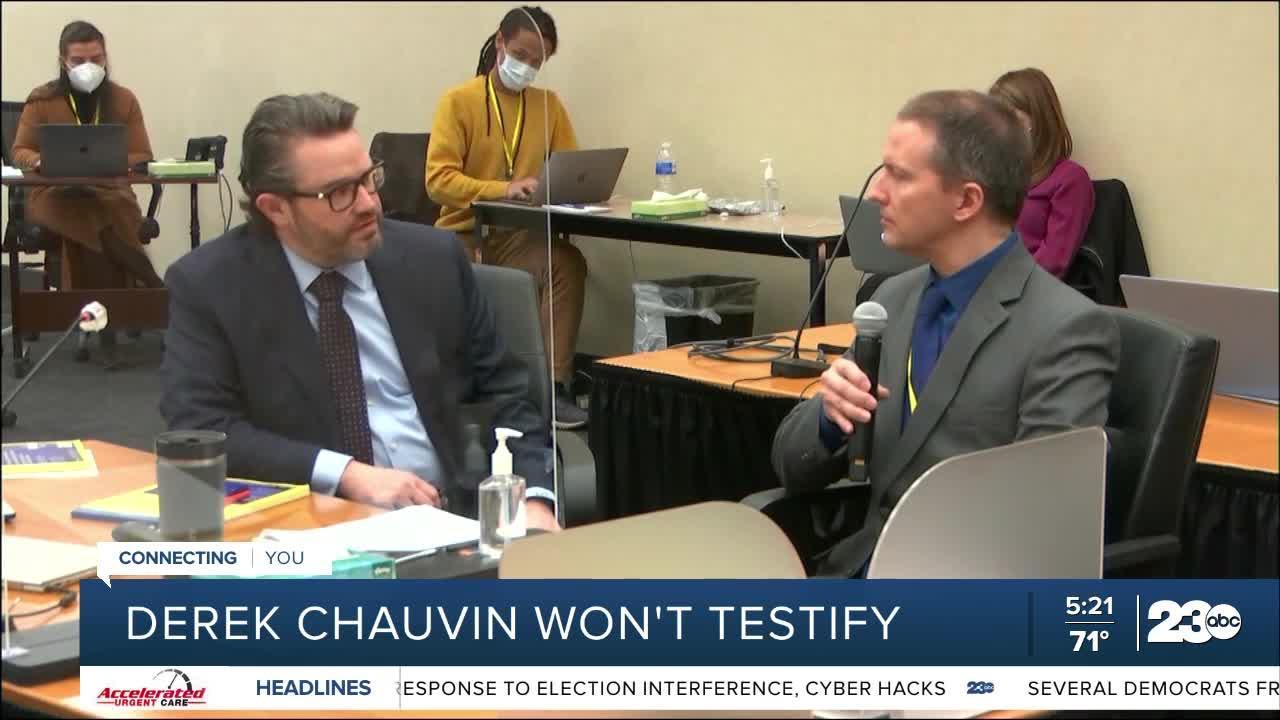 Derek Chauvin won't testify in George Floyd murder trial