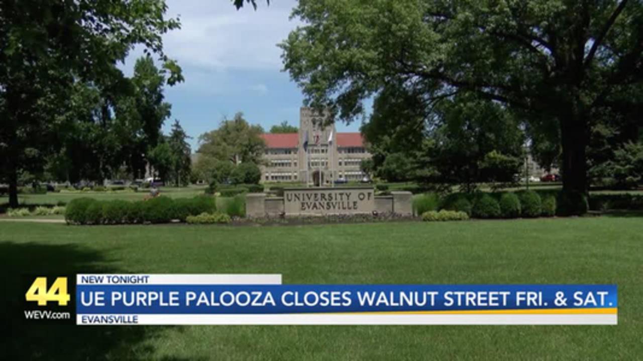 UE Purple Palooza Walnut Street Closing in Evansville