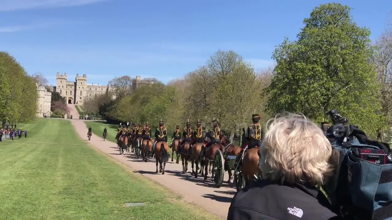King's Troop Royal Horse Artillery arrives at Windsor Castle ahead of Prince Philip's funeral ceremony