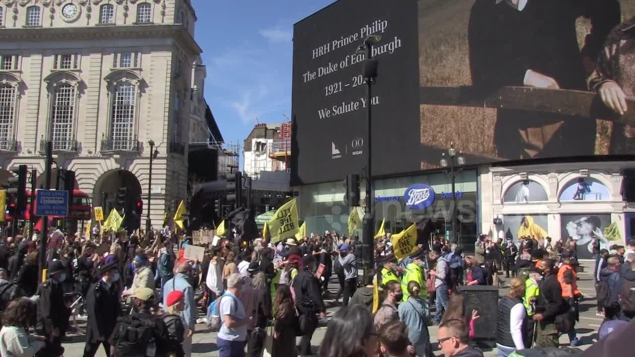 Kill the Bill protesters chant 'f*** the royals' in London on day of Prince Philip's funeral