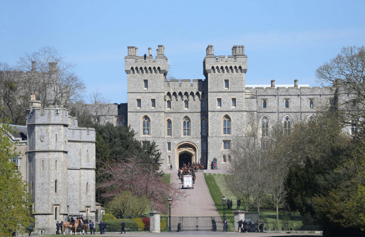 Prince Philip's coffin transported to Windsor Castle's inner hall ahead of the funeral