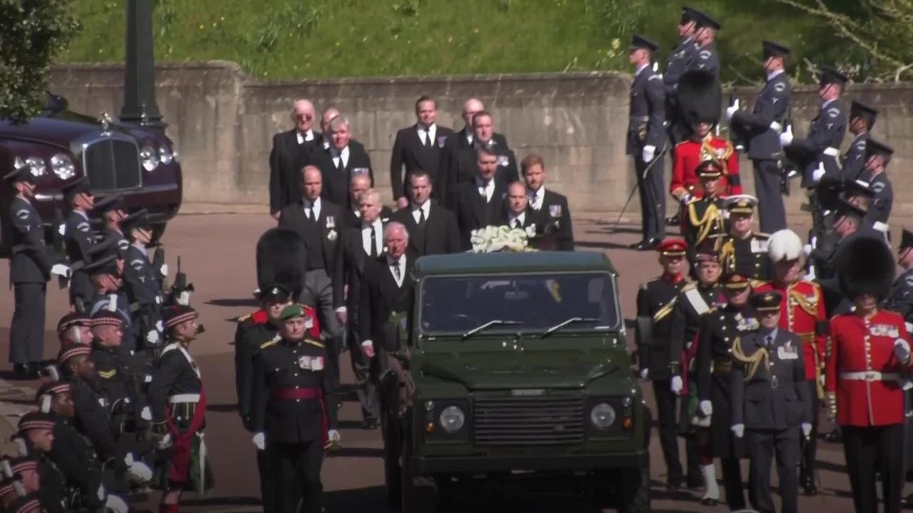 Senior royals walk in the Duke of Edinburgh's funeral procession