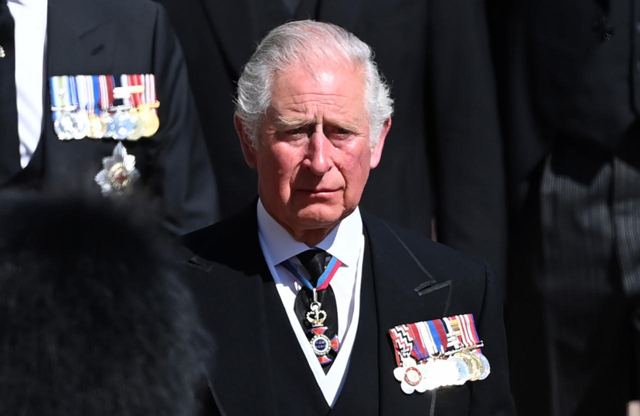 Prince Charles and Senior Royals looked sombre during Prince Philip's funeral procession