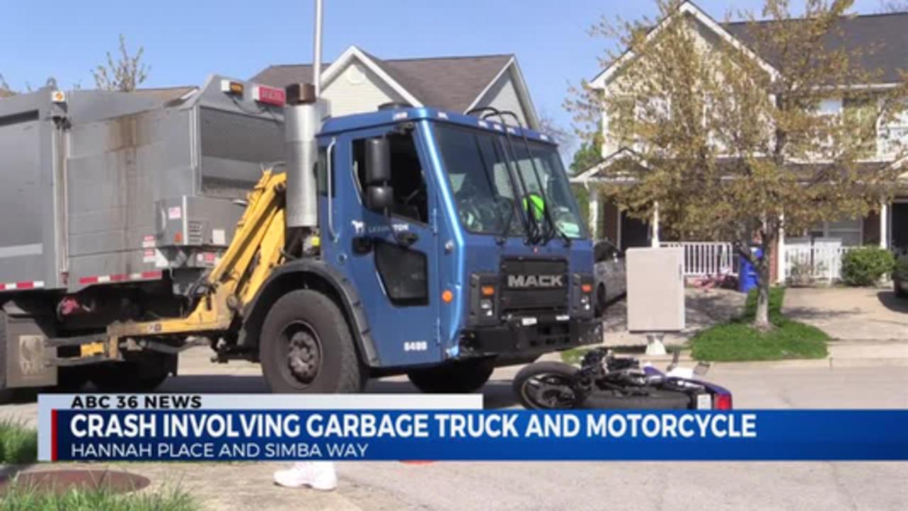Motorcycle vs garbage truck 4.16.21