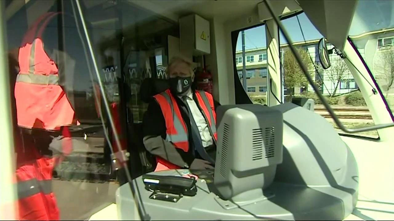 PM drives tram while on West Midlands visit