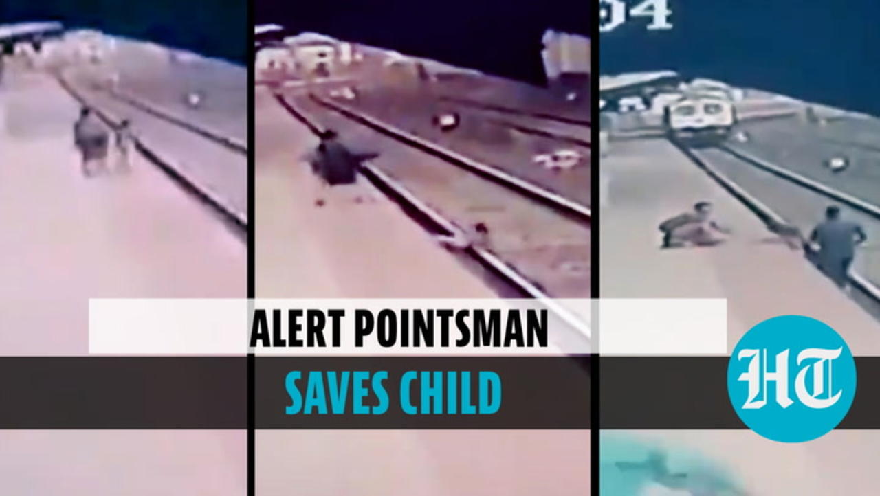 Watch: Alert pointsman saves child who fell onto train track in Maharashtra