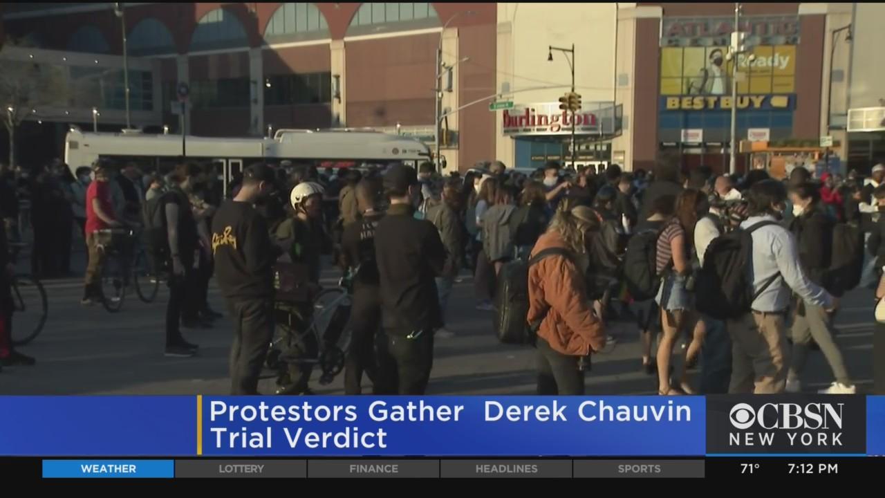 Crowds Gather At Barclays Center In Response To Derek Chauvin Verdict