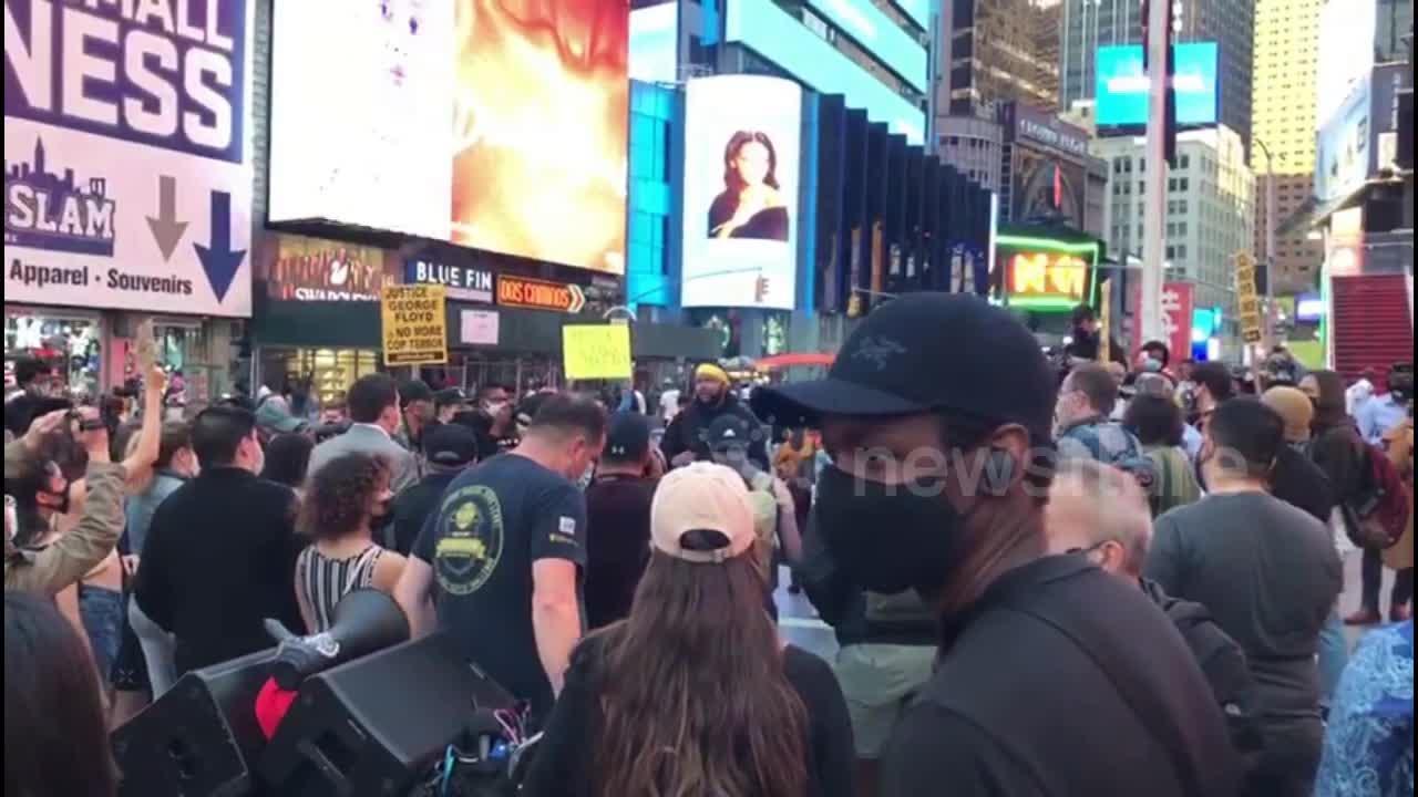 Times Square, New York demonstrators celebrate Derek Chauvin verdict