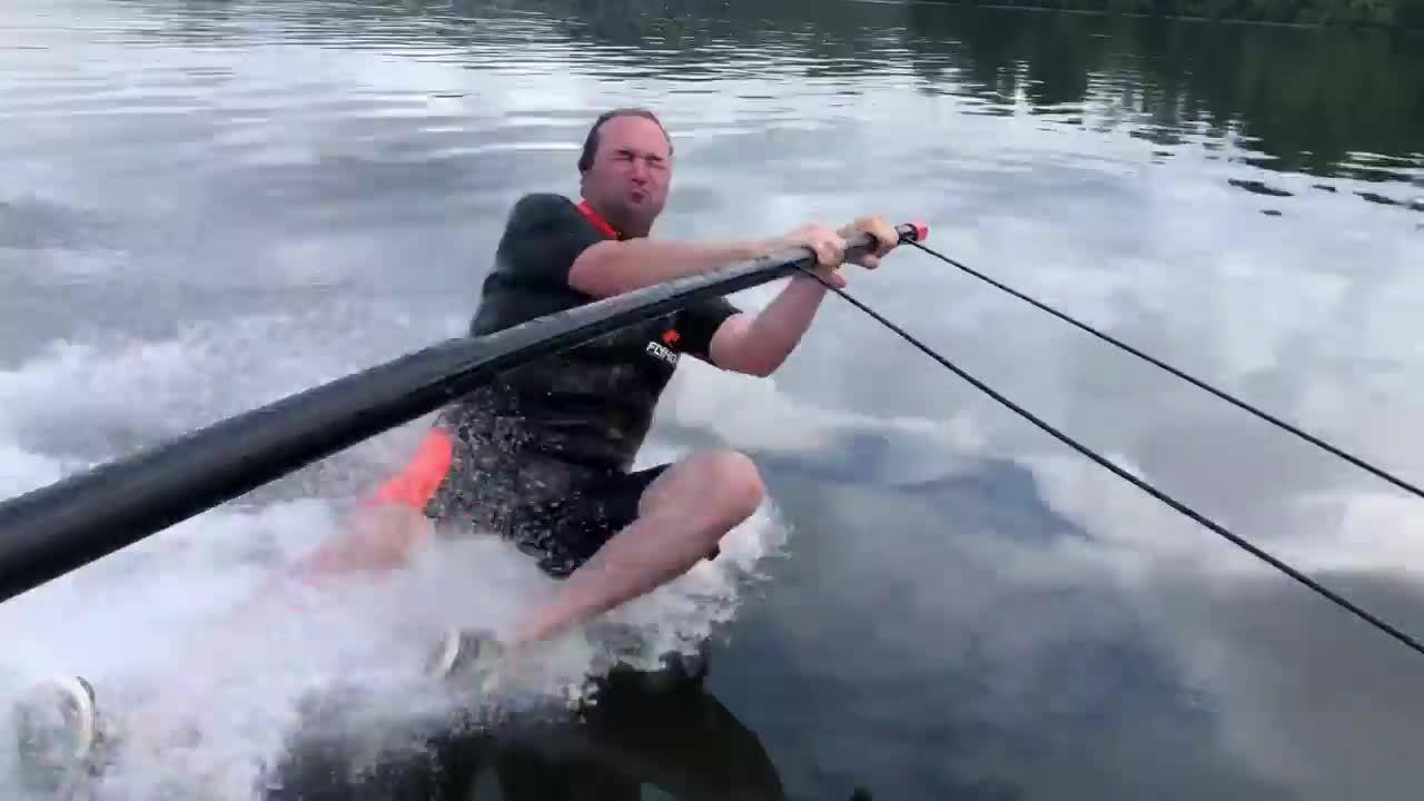 Guy Faceplants While Attempting to Ski Over Water Without Board Under Feet