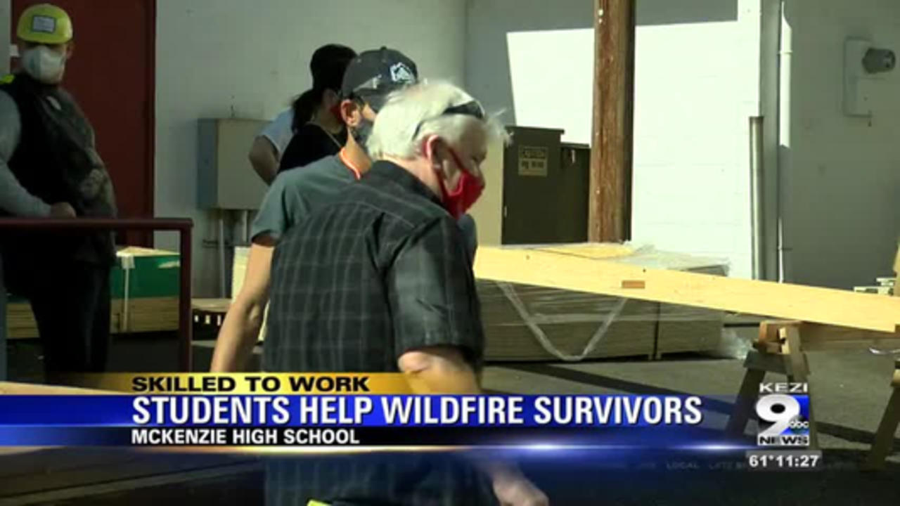 McKenzie students build sheds for fire victims