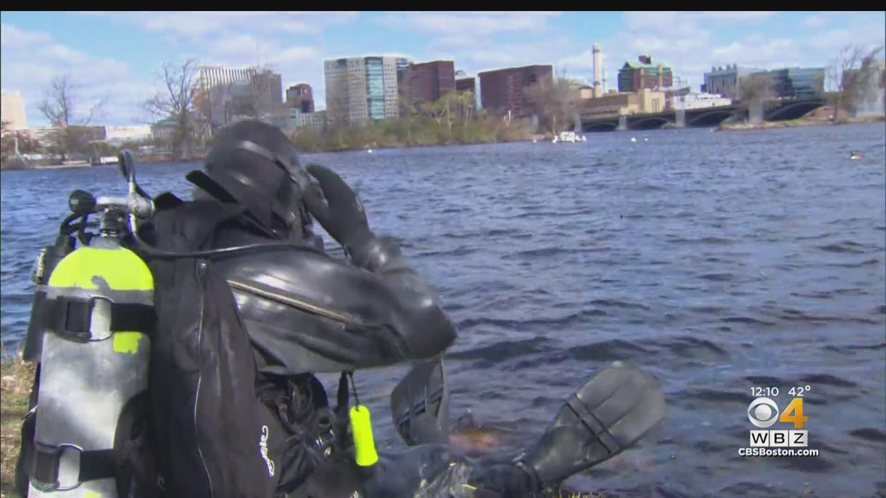 Massachusetts State Police Dive Team Collects Trash In Charles River On Earth Day
