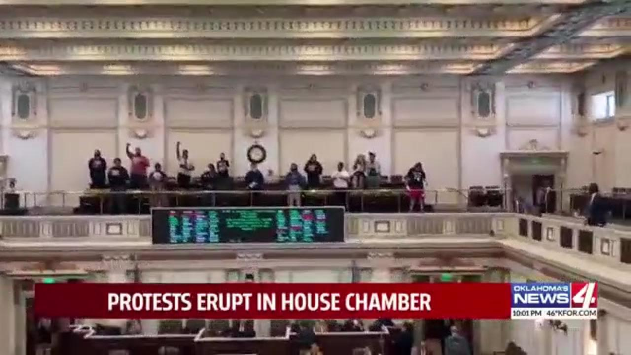 Protesters interrupt Oklahoma House proceedings over a number of 'hurtful' bills