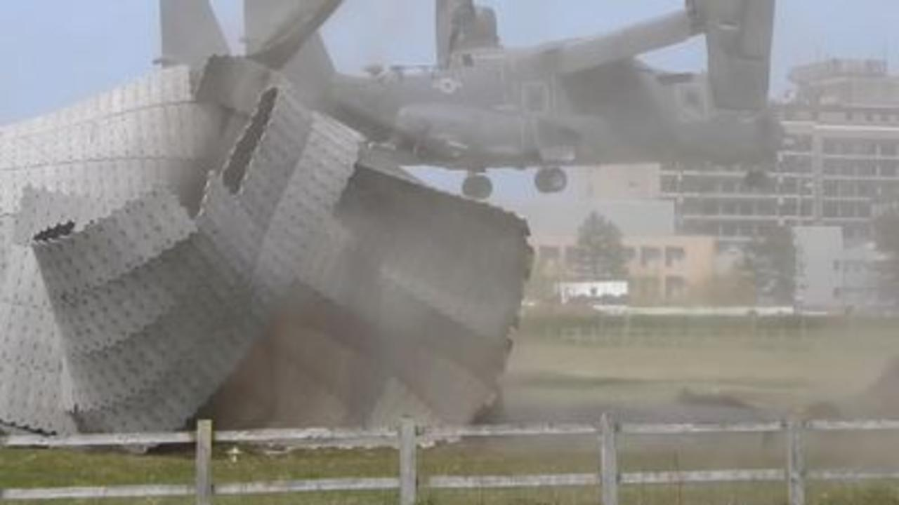 Helipad destroyed by US military aircraft