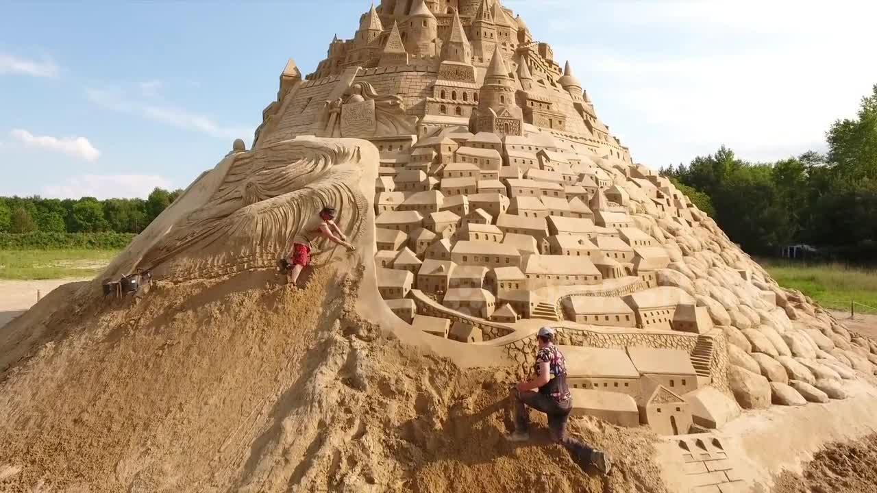 This world record-holding sandcastle is almost 60 feet tall and was made by a team of 20