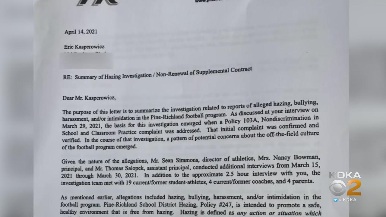 Kasperowicz Releases District Letter Detailing Why He Lost Job