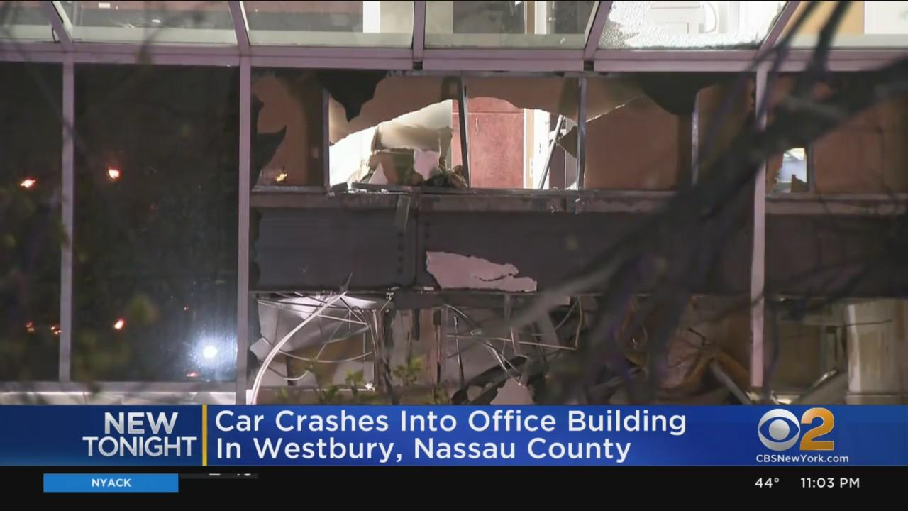 Car Crashes Into Office Building In Westbury, Nassau County