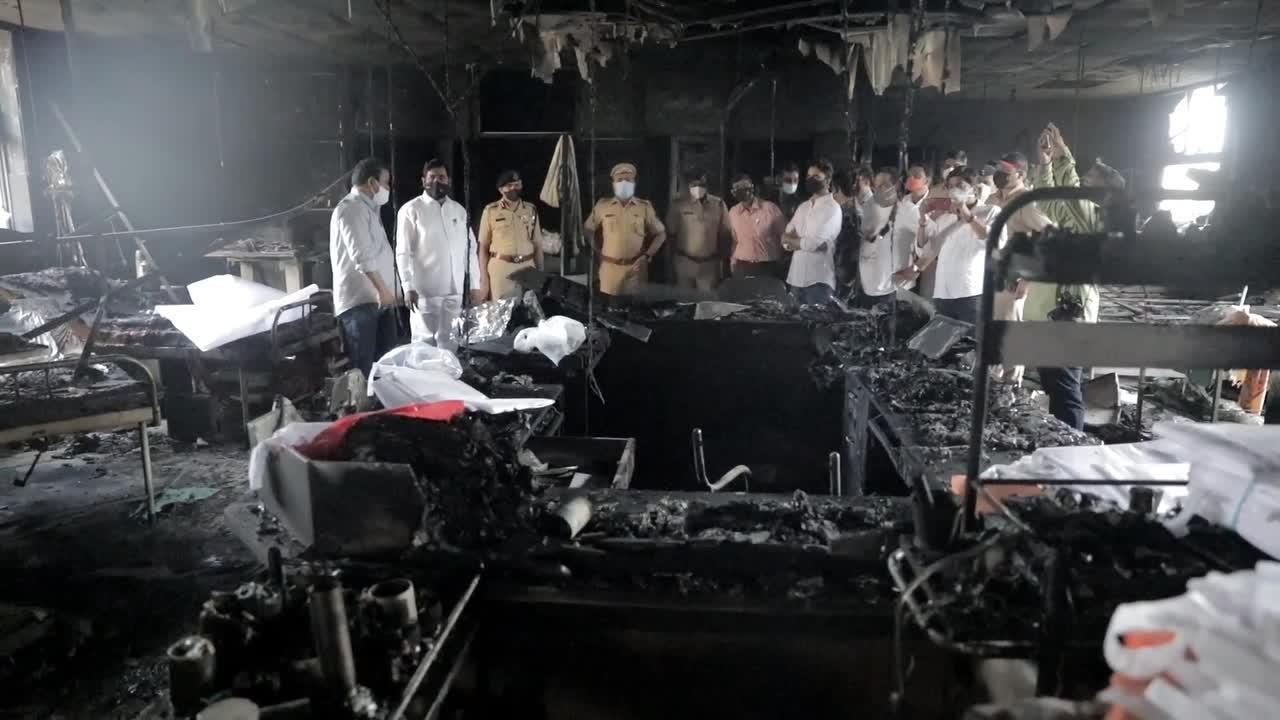 Charred interior of Indian hospital where 13 COVID-19 patients died in fire