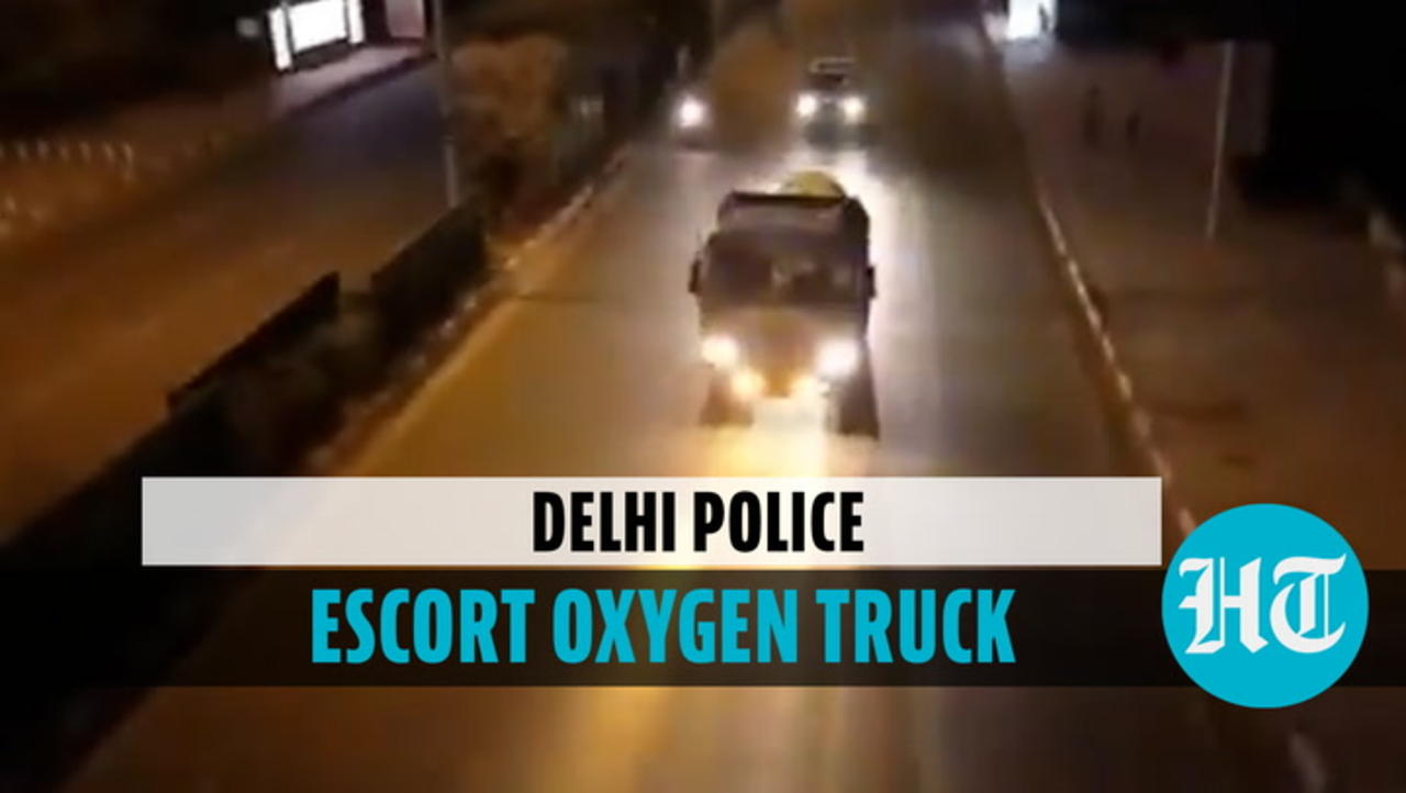 Watch: Delhi police escort truck carrying oxygen for Covid-19 patients