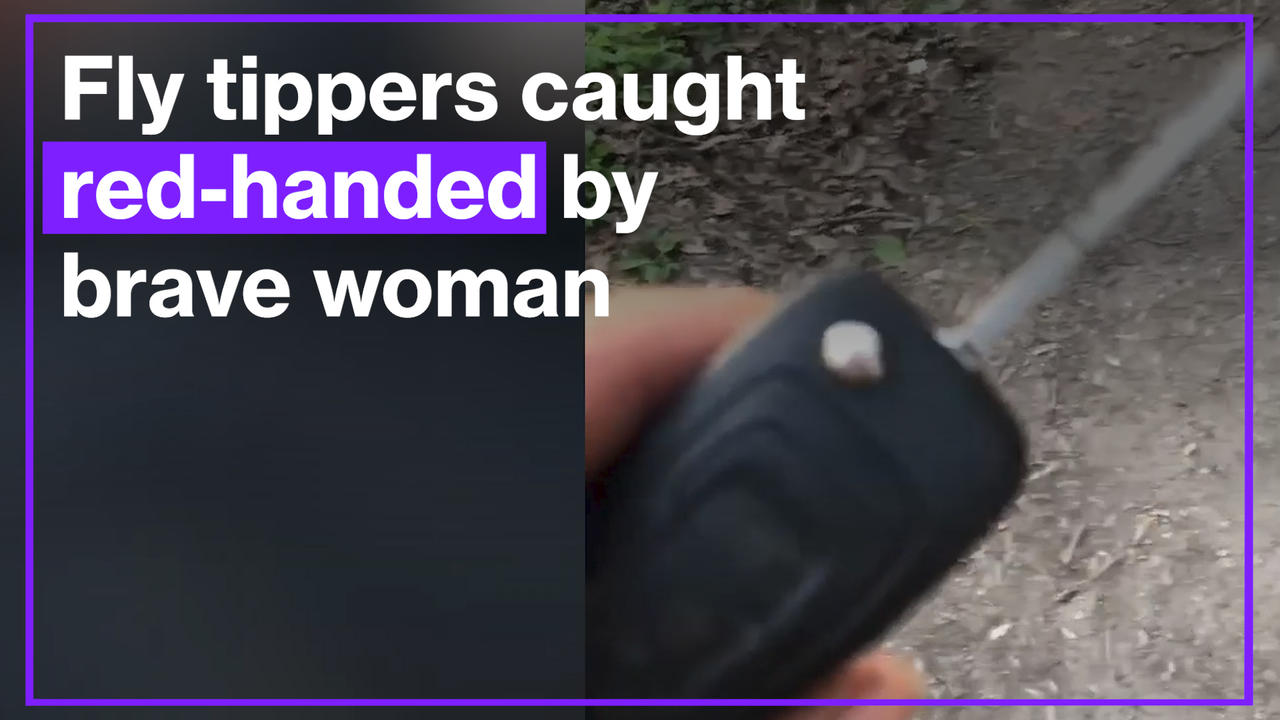 Woman confronts men fly-tipping then takes their trailer keys