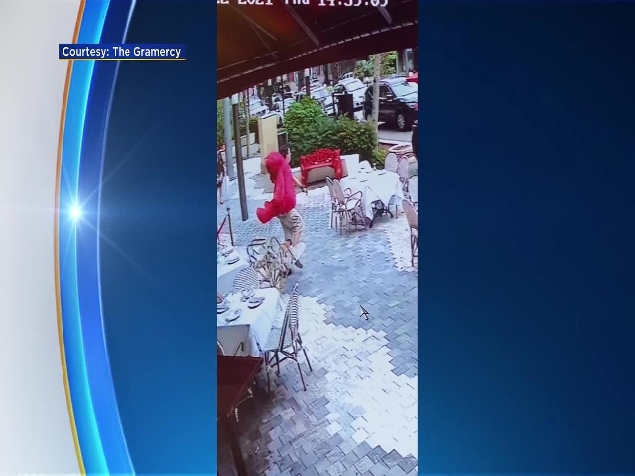 Surveillance Video Captures Man Stealing Pricey Jumbo Teddy Bear Outside Gables Restaurant
