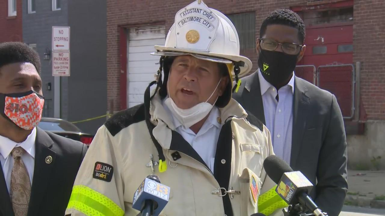 Officials Give An Update On 5-Alarm Fire In Baltimore Friday