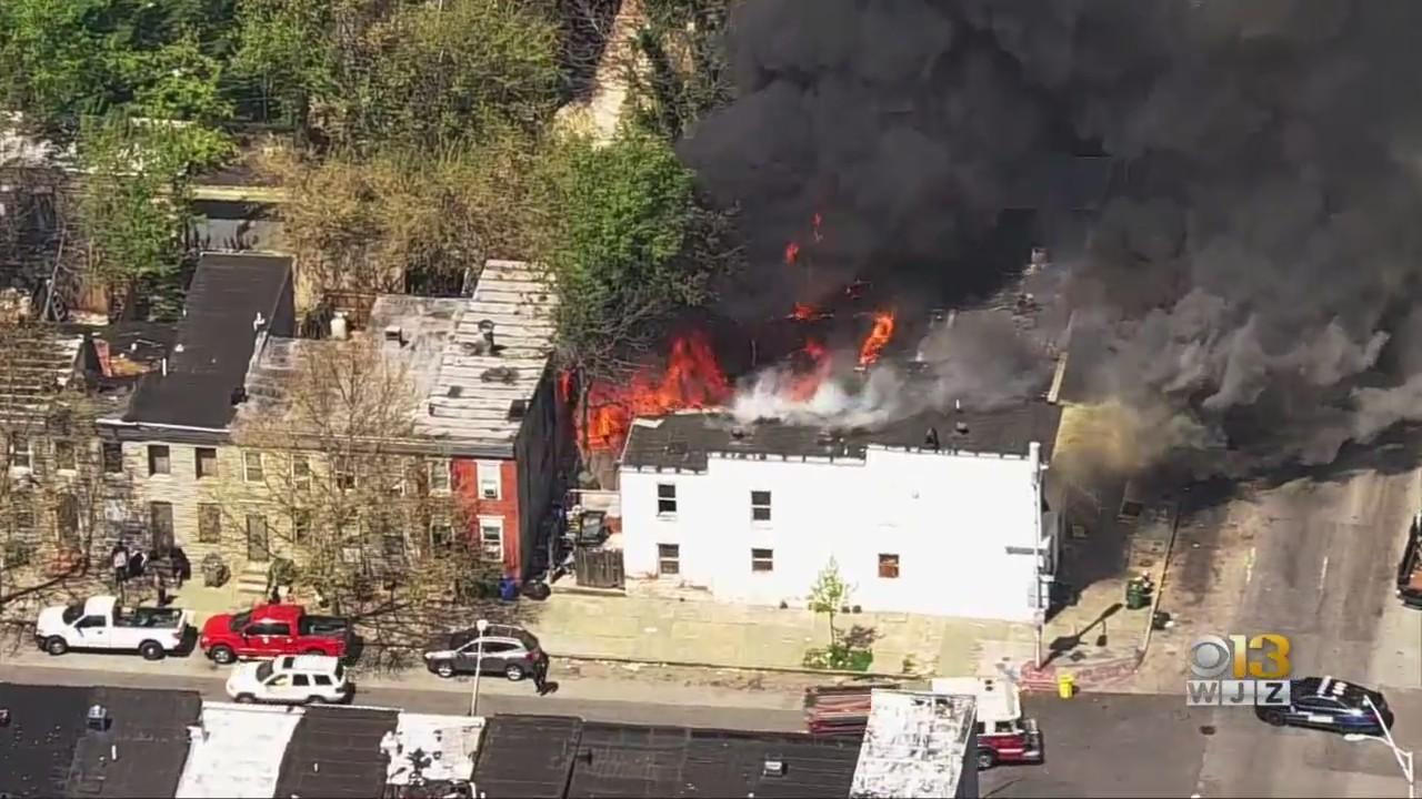 5-Alarm Fire Reported In West Baltimore, 1 Firefighter Was Injured