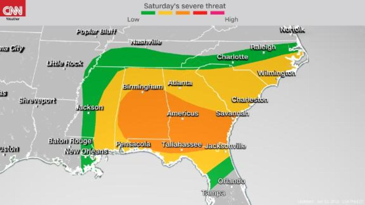 Severe storms threaten the southern US Friday and Saturday