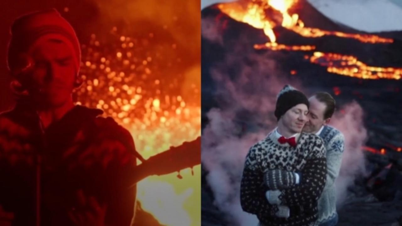 Music video and wedding filmed at erupting volcano