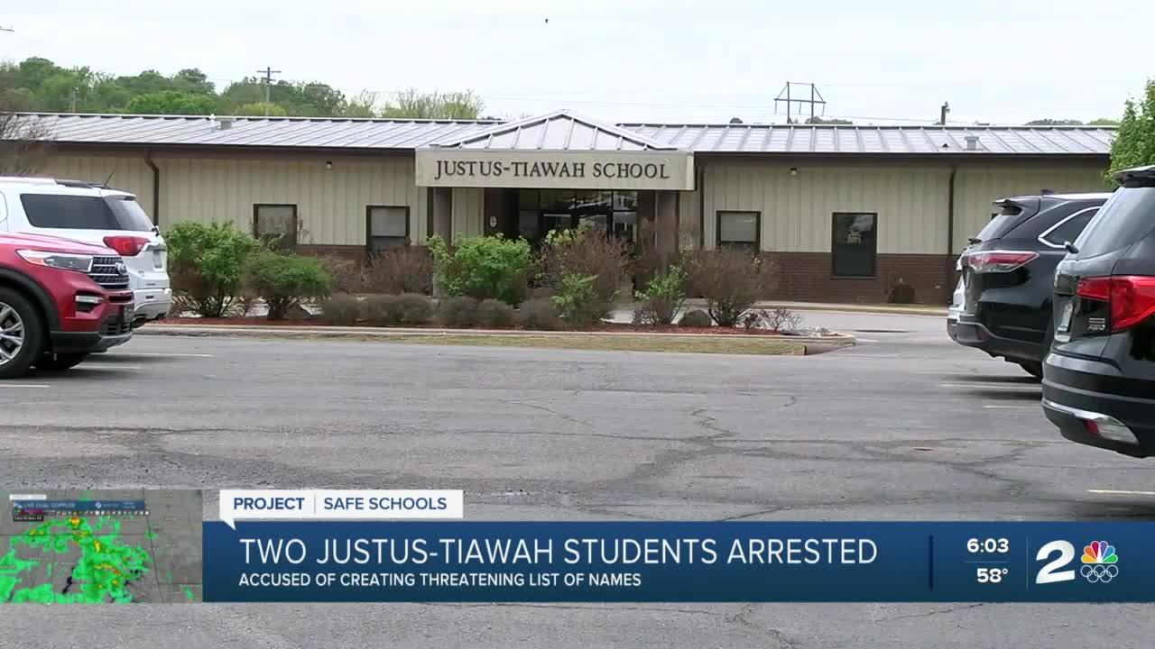 2 Justus-Tiawah junior high students arrested for creating threatening list of names