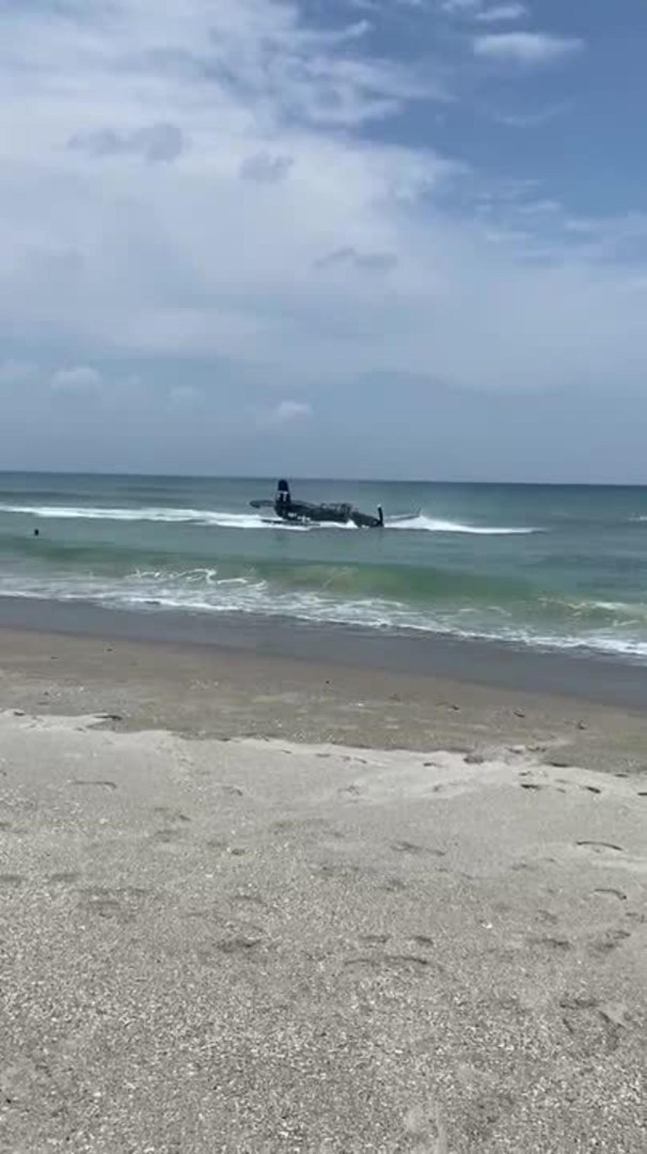 Plane Crash Lands Into Water at Cocoa Beach in Florida